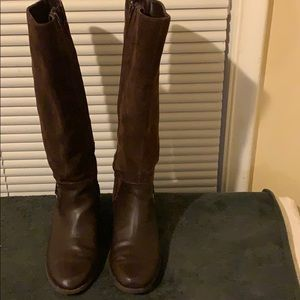 Leather & suede brown riding boots